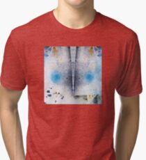 Abstract Unique Graphic ink design in blue and gold Tri-blend T-Shirt
