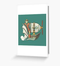 Cartoon steampunk styled flying airship with baloon and propeller Greeting Card
