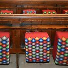 Cushions on the church benches by Arie Koene