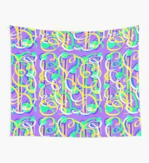 Party Streamers on purple Wall Tapestry