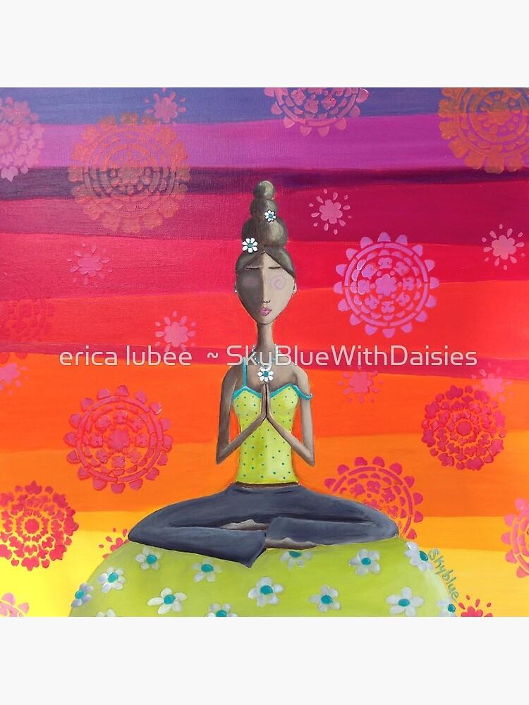 Zen Girl Under Rainbow Sky - Colorful Yoga Art by skyblue32
