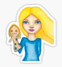 Girl with her puppet Sticker