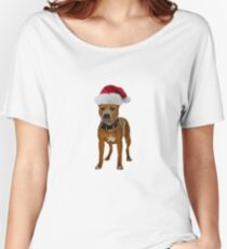 Pit Bull Santa Claus Merry Christmas Women's Relaxed Fit T-Shirt