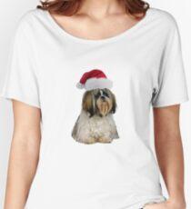 Shih Tzu Santa Claus Merry Christmas Women's Relaxed Fit T-Shirt