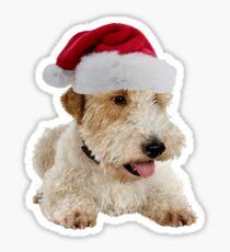 Wire Fox Terrier Santa Claus Merry Christmas Sticker