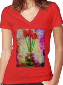 Three Tulips Women's Fitted V-Neck T-Shirt
