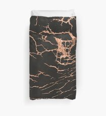 Black & Rose-Gold Marble Duvet Cover