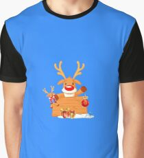 Reindeer Holding Christmas Ornaments with Gift Boxes Graphic T-Shirt