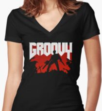 Doomy and Groovy Women's Fitted V-Neck T-Shirt