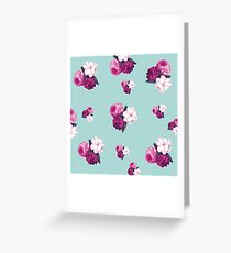 vintage,retro,floral pattern,shabby chic,pattern,country chic,roses,flowers,turqouise background,purple,white,modern,trendy,girly, Greeting Card