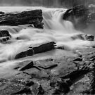 The Athabasca Falls in Black & White by Cory Lievers