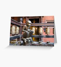 Monkey in a Buddhist temple Greeting Card