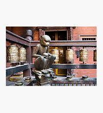 Monkey in a Buddhist temple Photographic Print