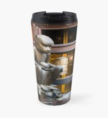 Monkey in a Buddhist temple Travel Mug