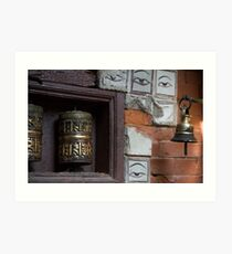 Bell and buddha eyes in a buddhist temple Art Print