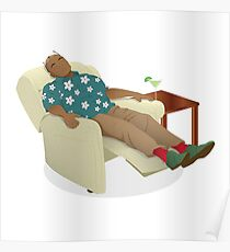 Black man wearing hawiian shirt Poster