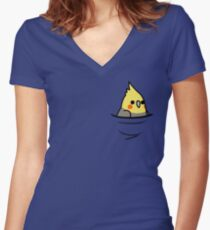 Too Many Birds! - Yellow Cockatiel Women's Fitted V-Neck T-Shirt