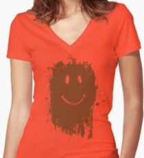 Smiley Mud Face Women's Fitted V-Neck T-Shirt