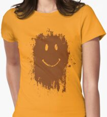 Smiley Mud Face Womens Fitted T-Shirt