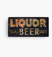 Neon Liquor Beer Take Out Sign Canvas Print