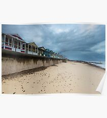 Row of Beach Huts at Southwold Pier Poster