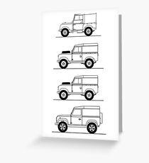 Evolution of Land Rover line art Greeting Card
