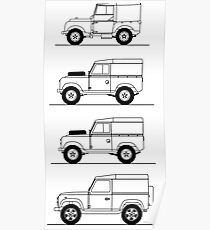 Evolution of Land Rover line art Poster