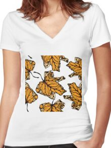 colourful autumn leaves  Women's Fitted V-Neck T-Shirt