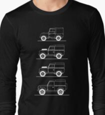 Evolution of Land Rover line art for dark colours T-Shirt