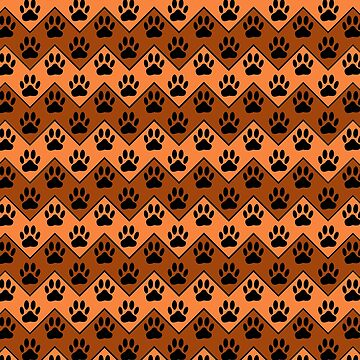 Orange And Brown Chevron With Dog Paw Pattern by Braznyc