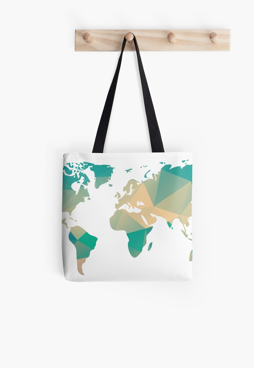 World map in geometric triangle pattern design tote bags by world map in geometric triangle pattern design by bluelela gumiabroncs Image collections