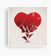 Valentine s day card, geometric triangle pattern, broken heart, label design, typography Canvas Print
