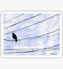 Bird on wire crow blue sky minimalist Sticker