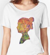 Girl Thread Art Silhouette Women's Relaxed Fit T-Shirt