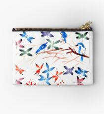 Dragonflies and Birds Watercolor Studio Pouch