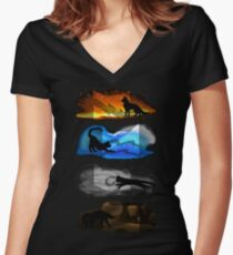 Warrior Cats: Four Elements, Four Clans Women's Fitted V-Neck T-Shirt