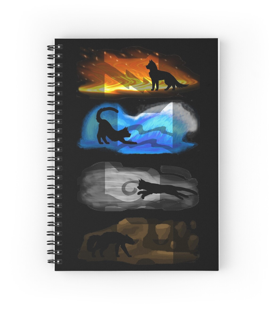 """Warrior Cats: Four Elements, Four Clans"" Spiral Notebooks"