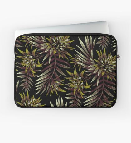 Fasciata Tropical Floral - Dark Green / Brown Laptop Sleeve