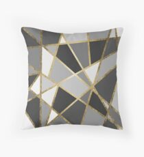 Black & Gray Modern Geo Gold Triangles Throw Pillow