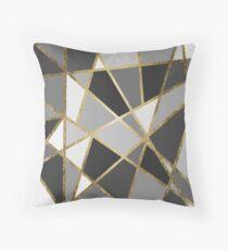 Cojín Triángulos negros y grises modernos del oro de Geo