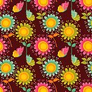 Brown Floral Pattern by rusanovska