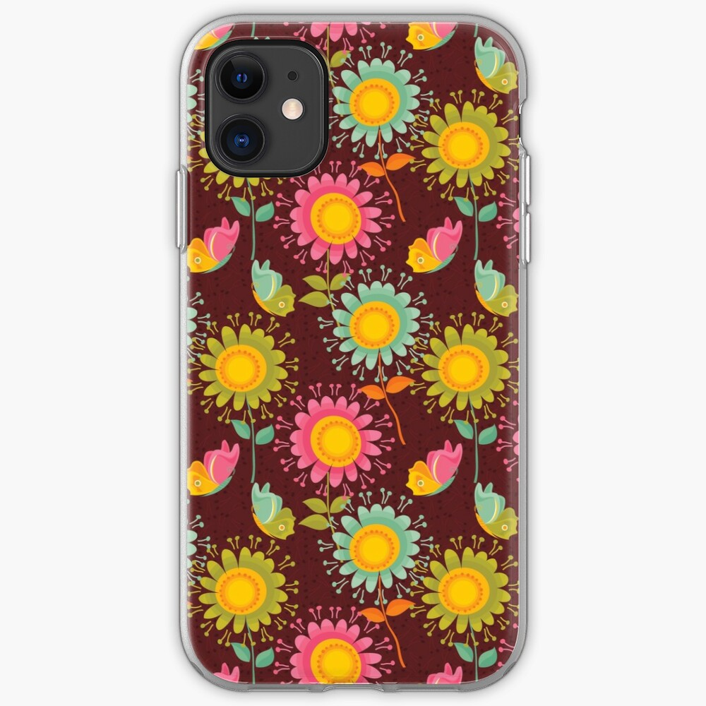 Brown Floral Pattern iPhone Case & Cover