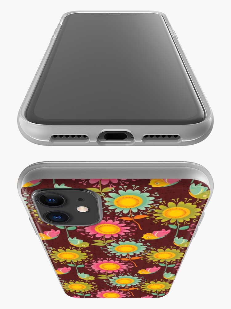 Alternate view of Brown Floral Pattern iPhone Case & Cover