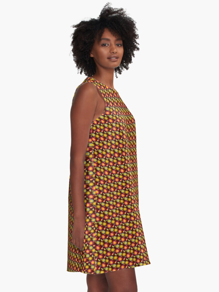 Alternate view of Brown Floral Pattern A-Line Dress