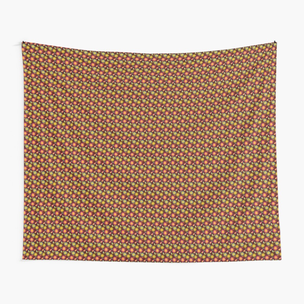 Brown Floral Pattern Wall Tapestry