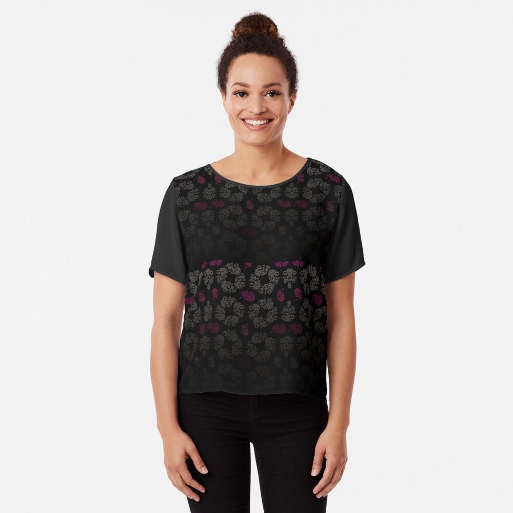 Black floral pattern Chiffon Top