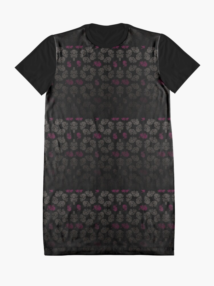 Alternate view of Black floral pattern Graphic T-Shirt Dress
