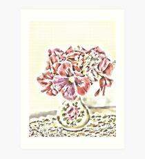 Pansies In Vintage Rose Vase Art Print