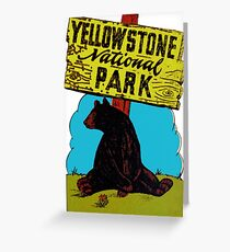 Yellowstone National Park Wyoming Vintage Travel Decal Greeting Card