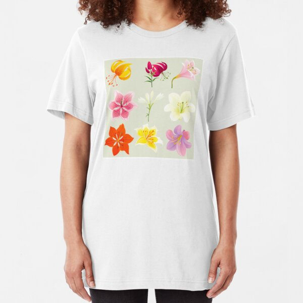 Colorful Lilies Slim Fit T-Shirt